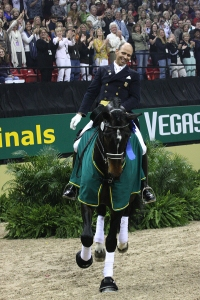 Steffen Peters (USA) and Ravel after winning the FEI Dressage World Cup Final in Las Vegas in 2009 (photo © Tony DeCosta)