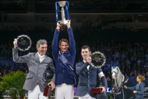 On the podium (l-r): Ludger Beerbaum (GER), Daniel Deusser (GER), and Scott Brash (GBR)