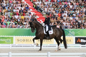 Golden girl Charlotte Dujardin and Valegro claim their second gold medal at WEG in the Grand Prix Freestyle - photo (c) CO Normandie 2014PSV