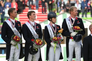 Great Britain takes the Silver: (l-r) Carl Hester, Michael Eilberg, Charlotte Dujardin, Gareth Hughes - photo (c) CO Normandie 2014PSV