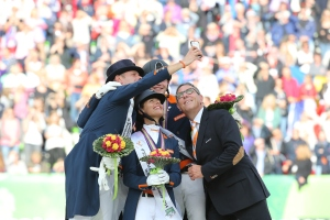 The Netherlands wins the Bronze medal and Selfie of the day! (l-r) Adelinde Cornelissen, Edward Gal, Diederik Van Silfhout and Hans Peter Minderhoud (c) CO Normandie 2014PSV