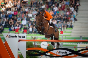 Jeroen Dubbeldam (NED) and Zenith SFN make history for The Netherlands with double Gold (c) Hippo Foto Team - Dirk Caremans / FEI  only rider to produce four clear rounds he secured his second Gold Medal of the Games and became the first Dutch rider to win the Individual World Championship