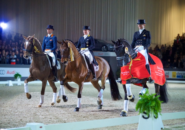 The top three from the World Cup qualifier in s'Hertogenbosch are all coming to Las Vegas: (l-r) Hans Peter Minderhoud (Glock's Flirt), Isabell Werth (Don Johnson) and Edward Gal (Glock's Voice) (c) FEI